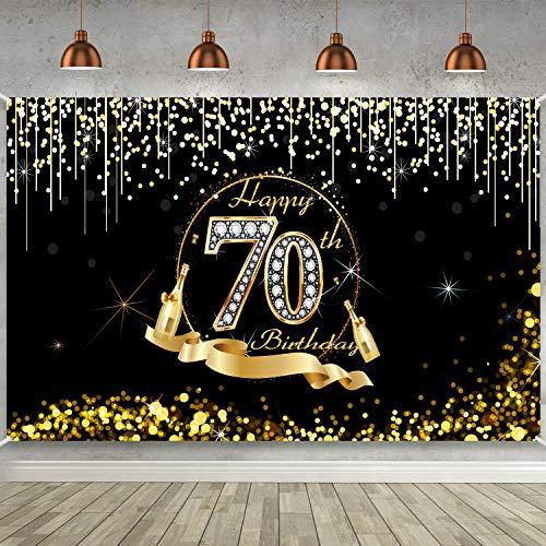 Blulu Decoración de Fiesta de 70 Cumpleaños, Póster de Cartel Dorado Negro Extra Grande, Pancarta de 70 Aniversario Fondo de Foto de Cumpleaños, 72,8 x 43,3 Pulgadas