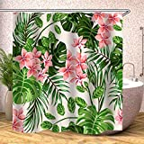 JYQ-giving Planta Tropical Cortina de Ducha Flores Hojas Impermeables Cortinas de baño for el baño Bañera Baño Cubrir Grandes Anchas 12pcs Ganchos (Color : Pattern 19, tamaño : W180xH200cm)