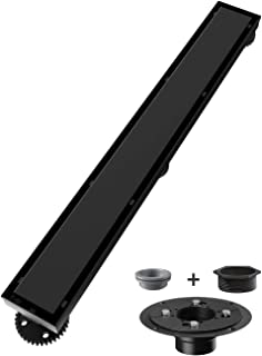 Ushower Linear Shower Drain 24 Inch, Tile-insert Matte Black Stainless Steel Linear Drain with Drain flange kit