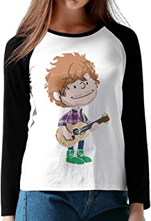 Womens ED Sheeran Music O-Neck Long Sleeve Raglan Tee Shirt