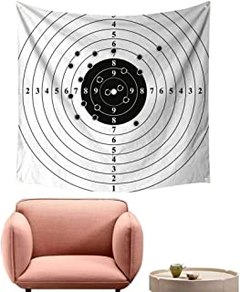 alsohome Art Tapestry Bohemian Wall Decor for Bedroom Target Numbers and Bullet HOL Polyg Gun Training Black White 55