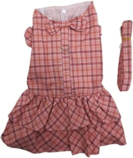 Hdwk&Hped Elegant Plaid Dog Harness Dress with Leash Pet Walking Set for Small Dog Puppy Cat (#5, Hot Pink)