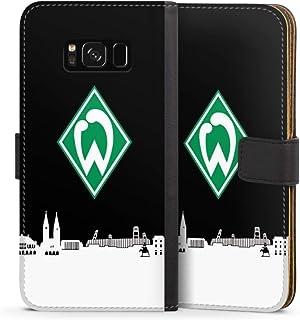 DeinDesign Klapphülle kompatibel mit Samsung Galaxy S8 Handyhülle aus Leder schwarz Flip Case Offizielles Lizenzprodukt Skyline SV Werder Bremen