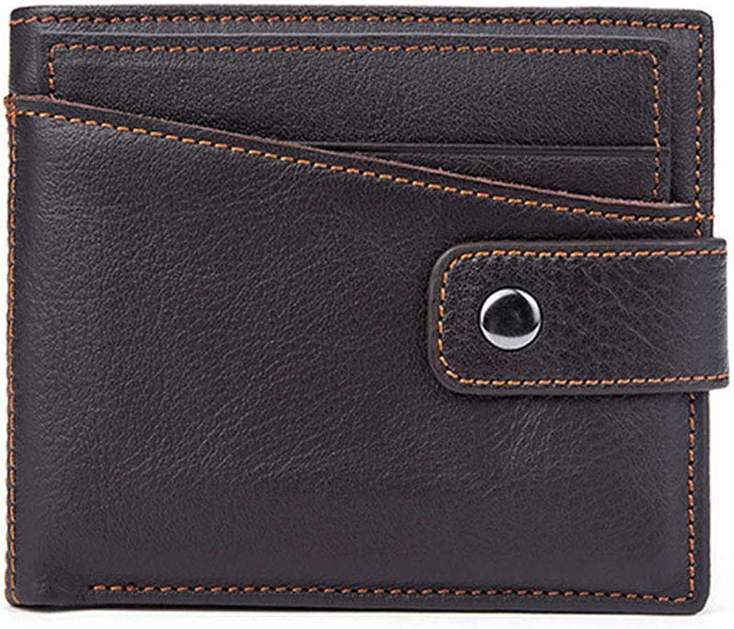 - Men's Short Leather Leather Leather Wallet, Retro Ultra Light Mini Coin Purse (color   Brown) 35a08b
