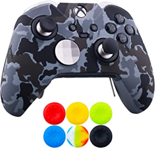9CDeer 1 x Protective Customize Transfer Print Silicone Cover Skin Camougrey + 6 Thumb Grips Analog Caps for [Xbox One Elite] Controller Compatible with Official Stereo Headset Adapter