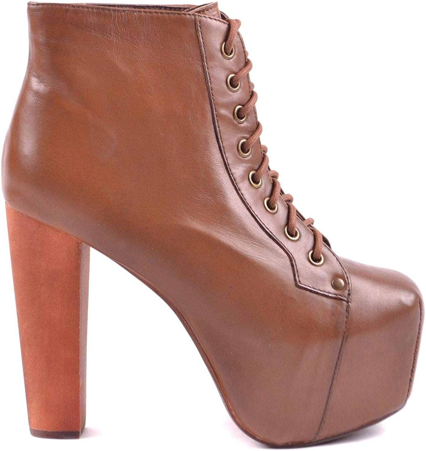 Jeffrey Campbell Women's MCBI32865 Brown Leather Ankle Boots
