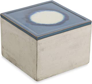 Boho Traders Cement and Ceramic Square Trinket Box, Small, Blue/Grey