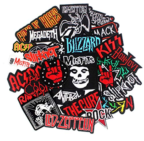 25 Pcs Mixed Band Rock Music Iron On Patches Embroidered Patch Badge Punk Hippie Clothes Stickers Iron On Jacket Jeans Applique Patch