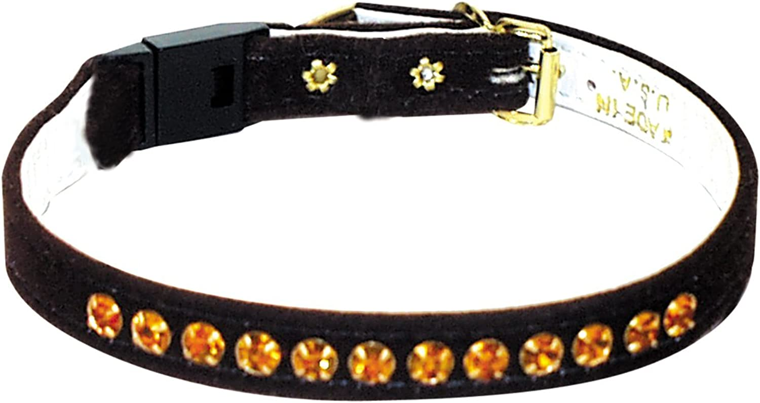 Pet Supply Imports Velveteen Jeweled Break Away Cat Collar, Brown Amber Stones, 14Inch