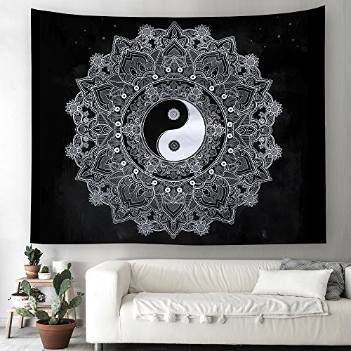Yin Yang Tapisserie indienne Mandala Tapisserie murale Oriental Hippie Bohème Tapisserie murale Nappe de table Serviette de plage 150x150cm 1