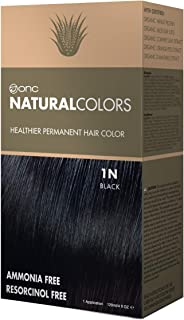 ONC NATURALCOLORS 1N Natural Black Healthier Permanent Hair Color Dye 4 fl. oz. (120 mL) with Certified Organic Ingredients, Ammonia-free, Resorcinol-free, Paraben-free, Low pH, Salon Quality, Easy to