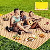 AURTEC Outdoor Picnic Mat, Beach Mat, 57in x 79in/145cm x 200cm Large Foldable Picnic Blanket, Waterproof and Dustproof Blanket Mat for Camping, Picnics, Hiking, Beach and More.(Yellow)