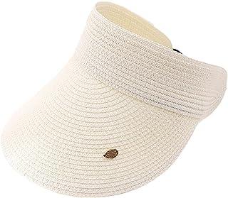 PRAMY Donna Estate Tessuto Paglia Vuota Top Cappello Da Sole Visiere Tesa Larga Foglie Decor Colore Solido Protezione UV R...