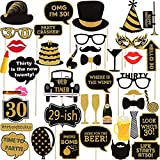 Seasons Stars SSDecor Adult 30th Birthday Photo Booth Props(34Pcs) for Her Him Dirty Thirty 30th Birthday Party, Gold and Red Decorations,30 Birthday Party Supplies for Men Women