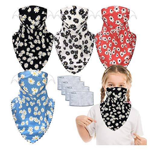 4 Packs Kids Reusable Sun Mask Face Covers with Carbon Filter Pocket Neck Gaiter Balaclavas Scarf with Ear Loop and Snap (4 pcs daisy, one size)