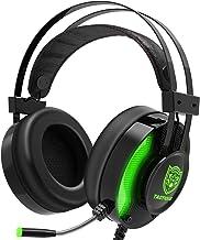 هدست بازی ، هدفون های استریو Taotique PC نویز از طریق هدفون های گوش گوش با میکرو گوش های نرم Mic Ergonomic و چراغ LED برای رایانه های شخصی ، PS4 ، Xbox One Controller (آداپتور گنجانده نشده است) - سبز