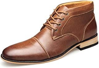 JIANFEI LIANG Men's Ankle Boots Chukka Boots Classic Business Oxford Lace up Genuine Leather Flat Heel Dress Oxford Boots (Color : Brown, Size : 50 EU)