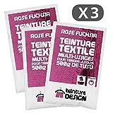 Lot de 3 sachets de Teinture Textile - ROSE FUCHSIA - teintures universelles pour vêtements et tissus naturels