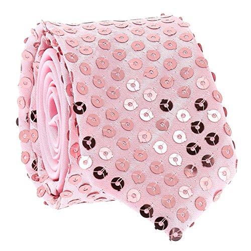 Cravate Paillette Rose - Cravate Strass Soirée - Cravate brillante