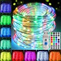 HLHome Led Rope Lights Outdoor 33ft, 100 LEDs 16 Colors USB Rope Lights Waterproof - Multi Mode Tube Lights for Bedroom Starry Fairy Lights for Wedding, Christmas Party, Home Decor