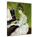 Leinwandbild Vincent Van Gogh Marguerite Gachet am Klavier - 40x50cm hochkant - Wandbild Alte Meister Kunstdruck Bild auf Leinwand Berühmte Gemälde