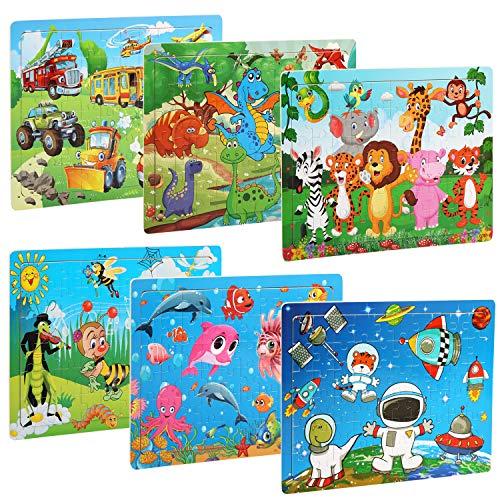 BelleStyle Rompecabezas de Madera 60 Piezas Juguete de Madera Puzzle para niños de 3 a 8 años Educación y Aprendizaje Rompecabezas Juguetes 6 Paquetes