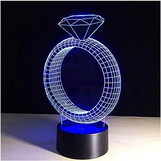Mood Lights 3D Diamond Ring Shape LED Night Lamp Visual 7 Color Changes Led Night Light Home Dector Led Lamp Table Lamp