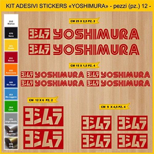Pimastickerslab Aufkleber stickers YOSHIMURA- 12 PCS - moto decal bike-Motorrad- Cod. 0784 (031 ROSSO)