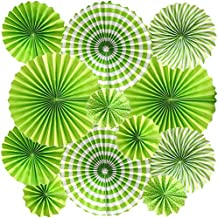 Cdycam Hanging Paper Fans Multi-Color Vibrant Party Decorations, Round Pattern Paper Garlands for Baby Shower/Party/Wedding/Birthday/Festival/Christmas/Event and Home Decor, Set of 12 (Green)