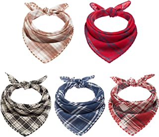 BINGPET Dog Bandana Classic Plaid 5 Pack Reversible & Washable Square Dog Kerchief Pet Triangle Scarf for Dogs