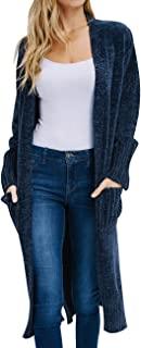 MEROKEETY Women's Open Front Soft Chenille Velvet Solid Color Long Cardigans Sweater with Pockets