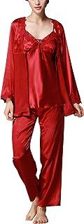 Pijamas para Mujer, Pijamas Mujer Invierno Verano, 3-in-1 Mujer Camisones, Satén Suave y cálido Manga Larga y Pantalones Largos, Mujer Largo Camisones Raso Satin Pijamas