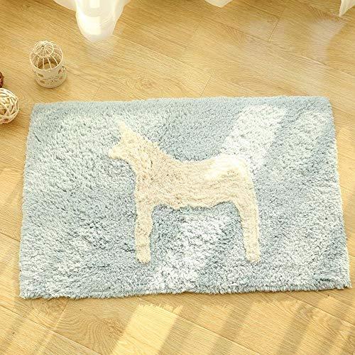 VIUNCE Pony Filz Fußmatte Cartoon Kinderbett Kopf Baumwolle Badezimmer Saugfähigen Pad Teppich (Color : White, Size : 19.69 * 31.50)