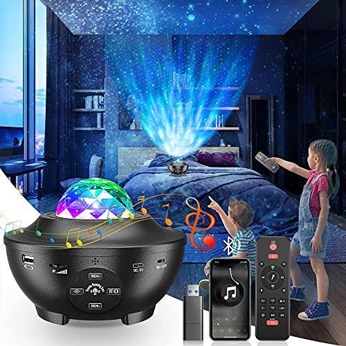 Proiettore Stelle Galassia, Luce Notturna Bambini Rotante a 360 Gradi a 10 Colori, Lampada Proiettore con Telecomando Timer Altoparlanti Bluetooth&USB, Proiettore Galassia Romantica Adatta per Regali