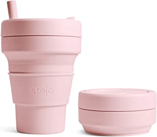 Stojo Collapsible Coffee Cup   Reusable To Go Large Pocket Size Travel Cup – Carnation..