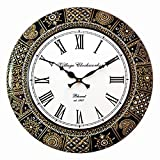 RoyalsCart Floral Design Painting Analog Wall Clock - 18 x 18 Inch,Multicolor (KTWC281)