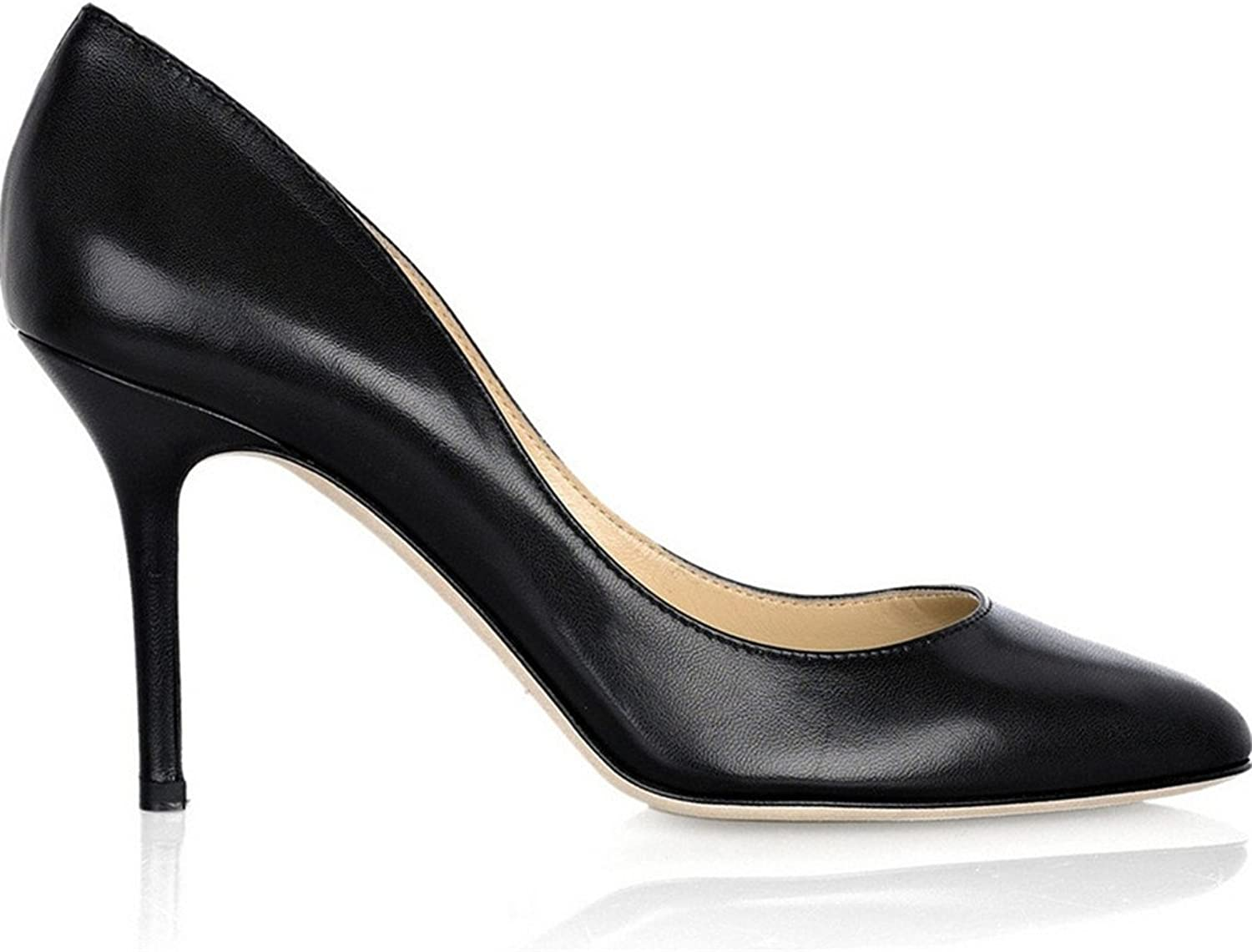 shoesmaker's heart Europe and America Sexy High-Heeled shoes Black Small Round Head Fine Heel shoes