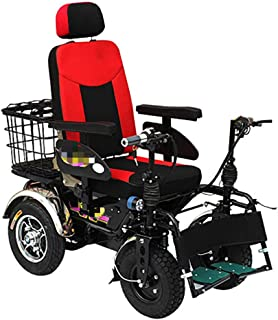 XRZY Scooter eléctrico de Cuatro Ruedas, Silla de Ruedas eléctrica, Silla Plegable Plegable Ligera de Doble función Accionamiento Plegable con energía eléctrica o Uso como motorizado Manual