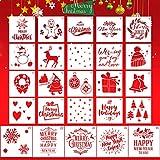 Christmas Stencils Template, ZALALOVA 25 Pcs Reusable Plastic Craft Christmas Decoration Template for Drawing Painting on Wood Window Door Cards Decor(5Pcs Large + 20Pcs Small)