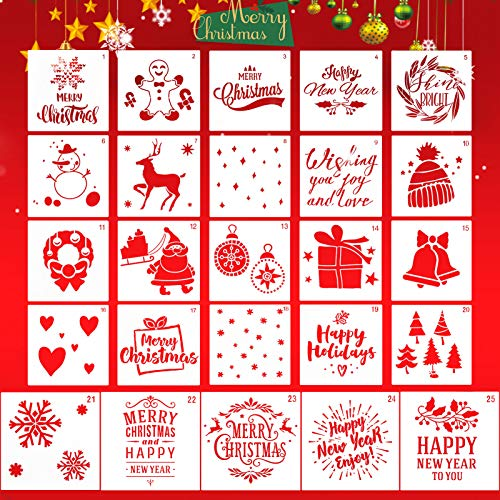Christmas Stencils Template, ZALALOVA 25 Pcs Reusable Plastic Craft Christmas Decoration Template for Drawing Painting on Wood Window Door Cards Decor(5Pcs Large + 20Pcs Small)