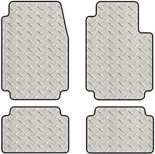 Intro-Tech MB-172-DP Diamond Plate Front and Second Row 4 pc. Custom Fit Floor Mats for Select Mercedes W460/W461 Models - Simulated Aluminum, Silver