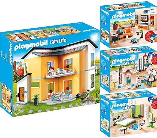 PLAYMOBIL® City Life 4er Set 9266 9267 9268 9271 Modernes Wohnhaus + Wohnzimmer + Badezimmer + Große Familienküche