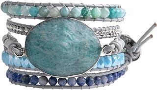 YGLINE Wrap Bracelets Natural Stones Leather Around 5 Layer Amazonite Beaded Leather Bohemian Bracelet