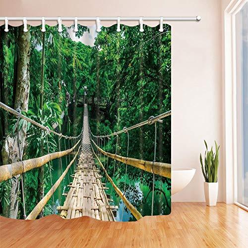 LRSJD Decoraties Tropisch bos hangbrug voetganger van bamboe op de rivier bol Philippine douchegordijn 71 x 71 inch polyester geweven gordijnen voor badkamer haken inbegrepen