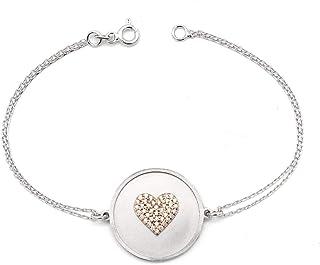 Braccialetto a cuore con pietre di zirconi - Gioielli veri - Gioielli da donna - Personalizzabile con incisioni