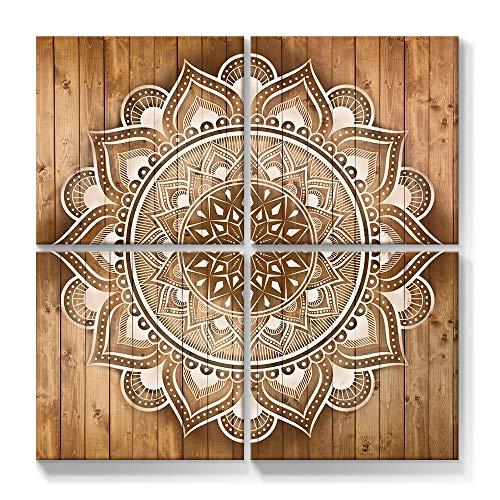 SUMGAR Cuadro de pared bohemio con mandala para pintar flores, cuadro indio marrón y blanco, decoración para dormitorio, salón, oficina, 4 x 30 cm, 4 unidades