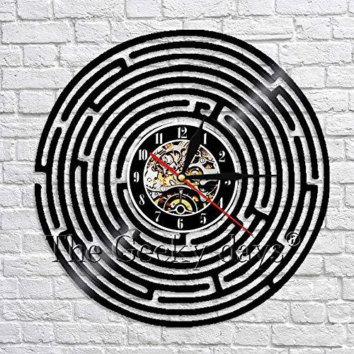 wtnhz LED-Laberinto Abstracto Reloj de Pared Minimalista Laberinto Arte Mural Un Reloj silencioso de Cuarzo de 12 Pulgadas Hecho de Discos de Vinilo