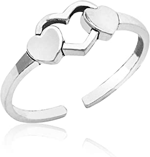 Honolulu Jewelry Company Sterling Silver Triple Heart with Antique Finish Toe Ring