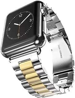 for Ceramics Bracelet Apple Watch Band 42mm/38mm 40mm 44mm Butterfly Buckle Strap iwatch Series 4/3/2/1 Wrist Belt,Metal Silver Gold,38MM 40mm