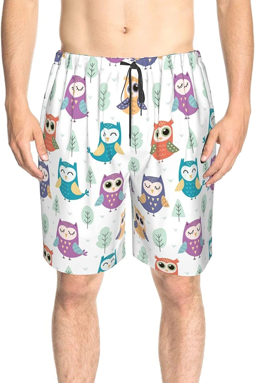 Men's Swim Shorts Cute Owls Funny On Forest Swim Short Boardshort Drawstring 3D Printed Surfing Board Shorts with Pockets